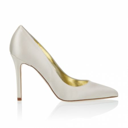 Freya Rose Charlie Ivory Satin Pointed Toe Court Shoes