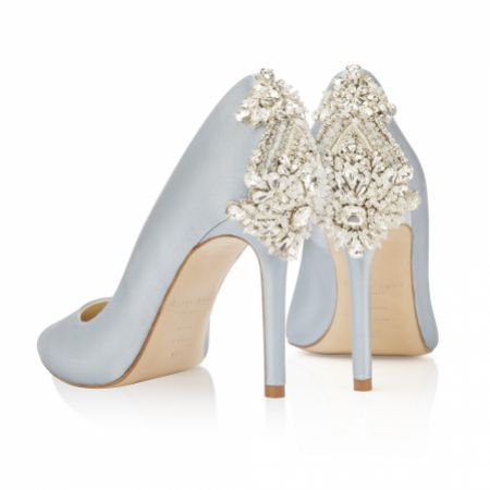 Freya Rose Lottie Blue Satin Crystal Embellished Heel Courts