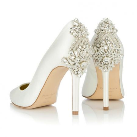 Freya Rose Lottie Ivory Satin Crystal Embellished Heel Courts