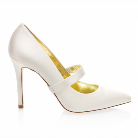 Freya Rose Plain Ivory Silk Detachable Shoe Straps