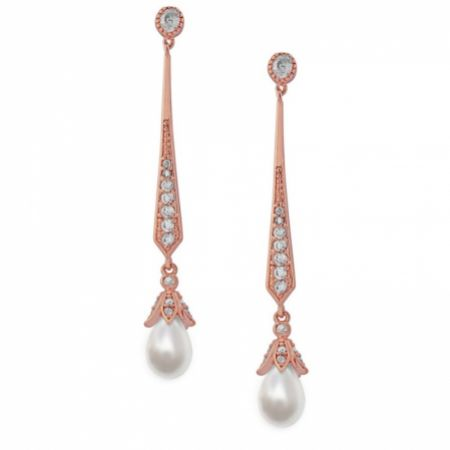 Geneva Long Pearl Drop Wedding Earrings (Rose Gold)