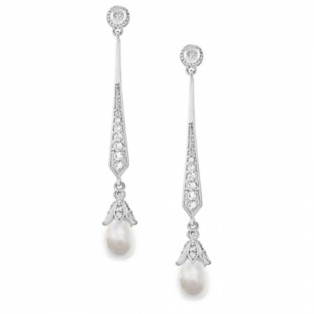 Geneva Long Pearl Drop Wedding Earrings (Silver)