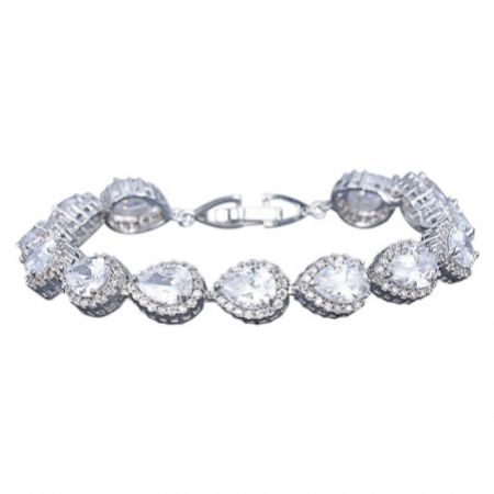 Hampton Teardrop Cubic Zirconia Wedding Bracelet (Silver)