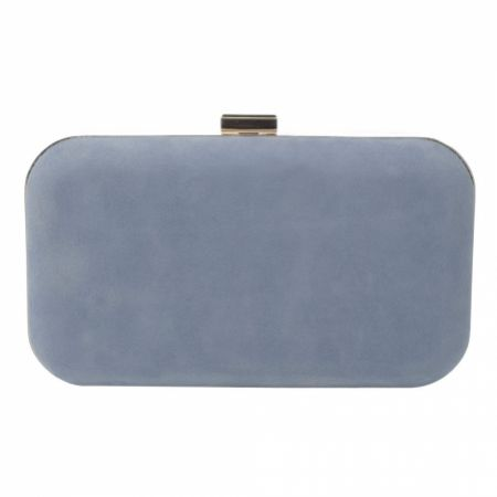 Harriet Wilde Amelia Blue Suede Clutch Bag with Gold Clasp