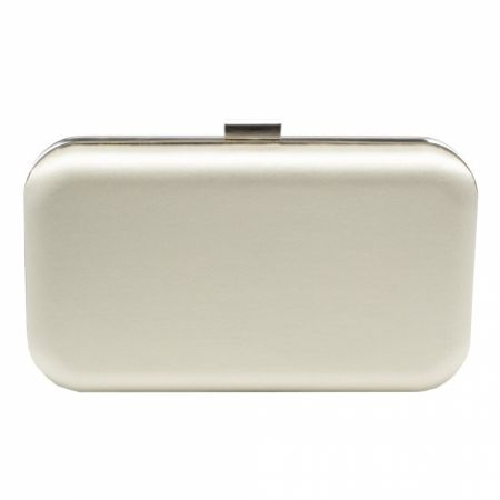 Harriet Wilde Amelia Ivory Satin Clutch Bag with Silver Clasp