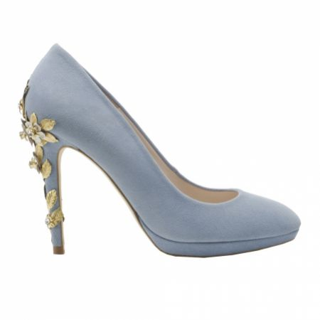 Harriet Wilde Amy Blue Blossom Embellished Heel Platform Courts