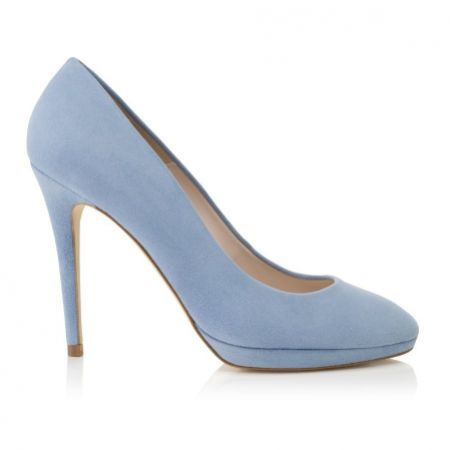 Harriet Wilde Amy Blue Suede Platform Court Shoes