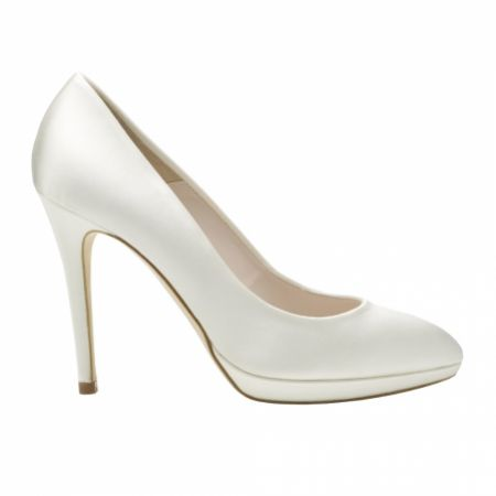 Harriet Wilde Amy Ivory Satin Platform Bridal Court Shoes