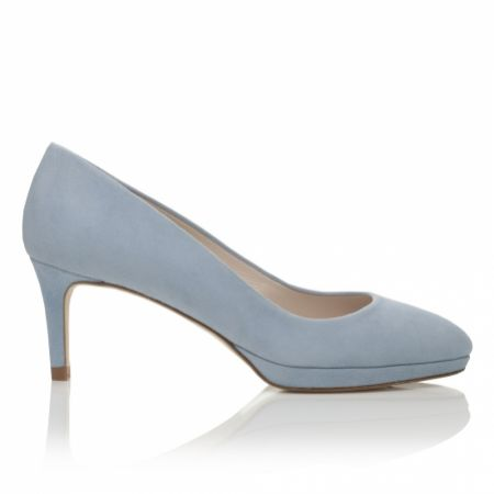 Harriet Wilde Amy Low Heel Blue Suede Platform Court Shoes