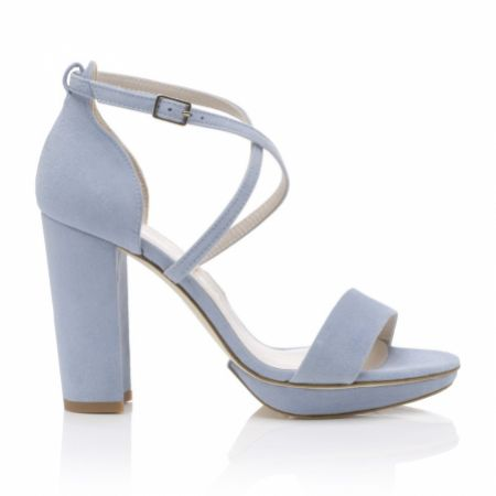 Harriet Wilde Arabella Block Blue Suede Platform Sandals