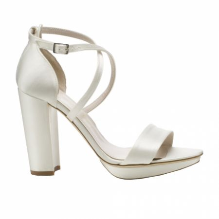 Harriet Wilde Arabella Block Ivory Satin Platform Sandals