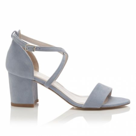 Harriet Wilde Arabella Block Mid Heel Blue Suede Sandals
