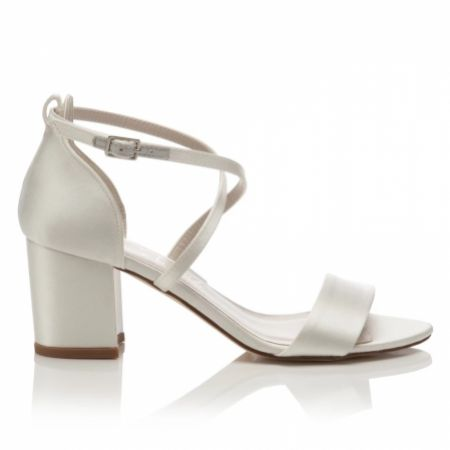 Harriet Wilde Arabella Block Mid Heel Ivory Satin Sandals