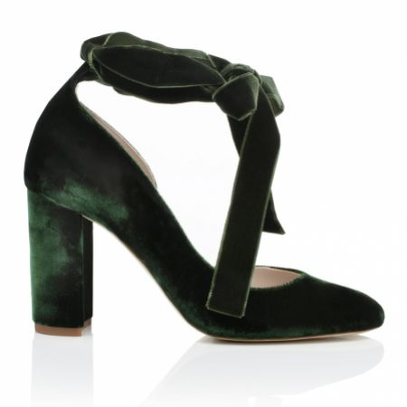 Harriet Wilde Hetty Forest Green Velvet Tie Up Block Heel Court Shoes