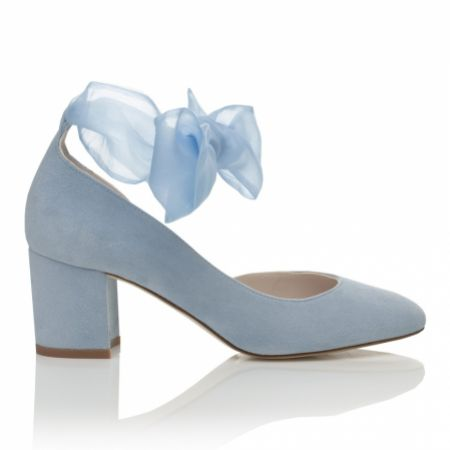 Harriet Wilde Hetty Mid Blue Suede Tie Up Block Heel Court Shoes