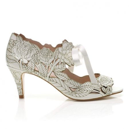 Harriet Wilde Peony Low Ivory Floral Laser-Cut Wedding Sandals