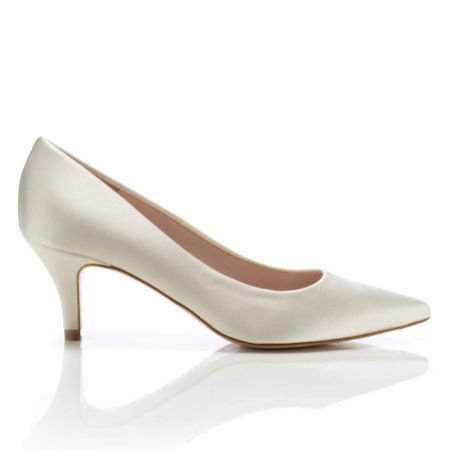 Harriet Wilde Tilda Ivory Satin Low Heel Pointed Toe Courts