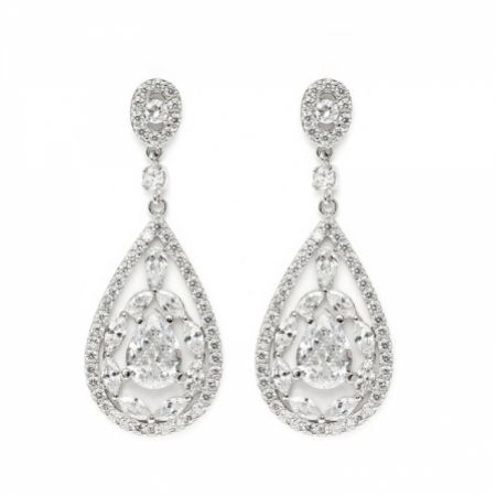 Hollywood Vintage Inspired Cubic Zirconia Drop Earrings (Silver)