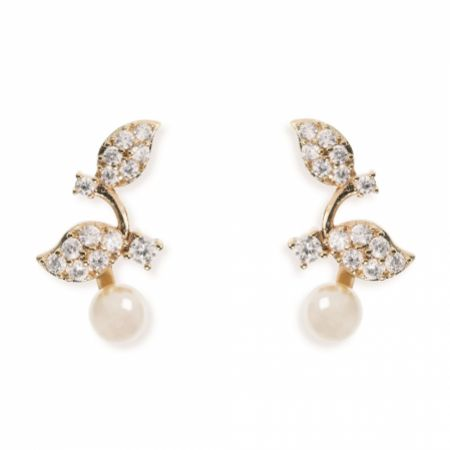 Ivory and Co Aphrodite Crystal Leaves and Pearl Wedding Earrings (Gold)