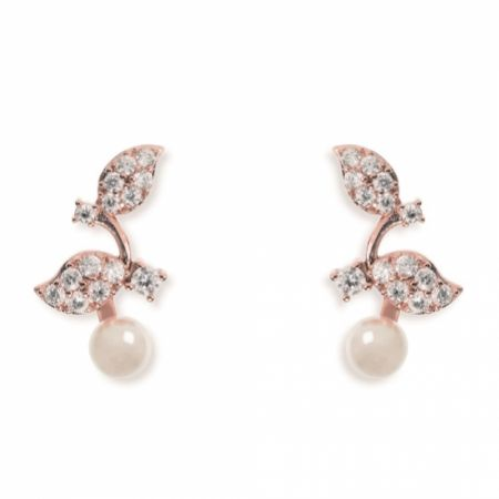 Ivory and Co Aphrodite Crystal Leaves and Pearl Wedding Earrings (Rose Gold)