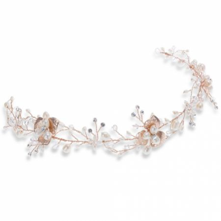 Ivory and Co April Rose Gold Floral Pearl Wedding Hair Vine
