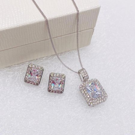 Ivory and Co Art Deco Rectangular Crystal Jewellery Set