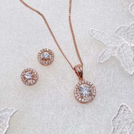 Ivory and Co Balmoral Rose Gold Wedding Jewellery Set