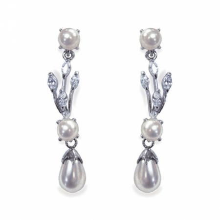Ivory and Co Belgravia Pearl and Crystal Drop Wedding Earrings