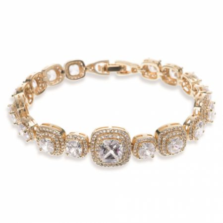 Ivory and Co Belize Square Crystal Wedding Bracelet (Gold)