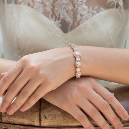 Ivory and Co Belize Square Crystal Wedding Bracelet (Rose Gold)
