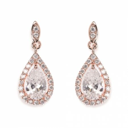 Ivory and Co Belmont Crystal Drop Wedding Earrings (Rose Gold)