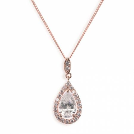 Ivory and Co Belmont Crystal Pendant Necklace (Rose Gold)