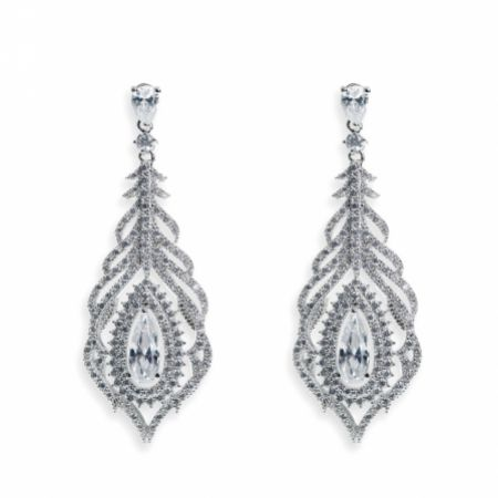 Ivory and Co Cafe Royale Crystal Feather Wedding Earrings