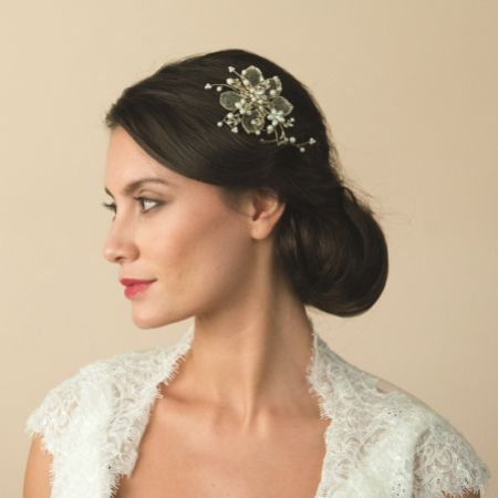 Ivory and Co Camilla Gold Floral Wedding Hair Clip