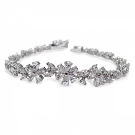 Ivory and Co Cherish Cubic Zirconia Flower Wedding Bracelet