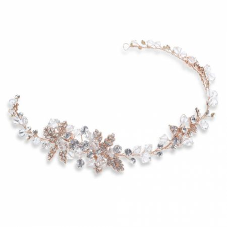 Ivory and Co Firenza Rose Gold Crystal Blossoms and Leaves Wedding Hair Vine