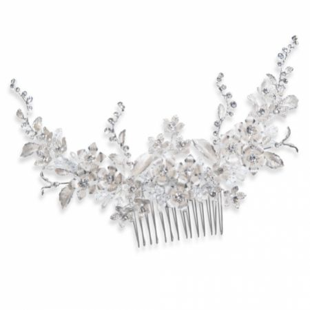 Ivory and Co Heather Silver Enamelled Flowers and Leaves Wedding Hair Comb