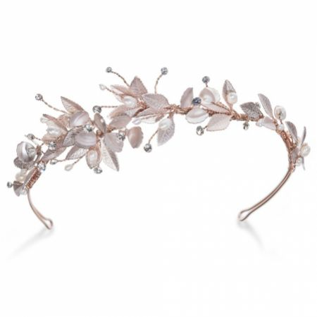 Ivory and Co Liberty Rose Gold Enamelled Flowers and Leaves Side Headpiece
