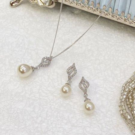 Ivory and Co Lisbon Pearl Bridal Jewellery Set