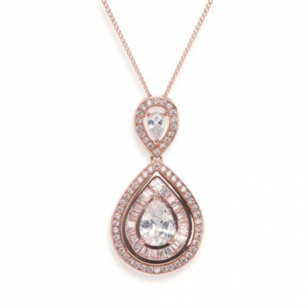 Ivory and Co Montgomery Rose Gold Crystal Teardrop Pendant Necklace