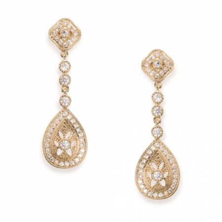 Ivory and Co Moonstruck Gold Crystal Wedding Earrings