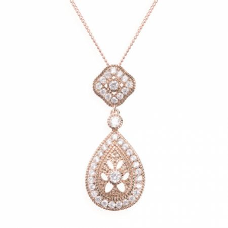 Ivory and Co Moonstruck Rose Gold Crystal Pendant Necklace