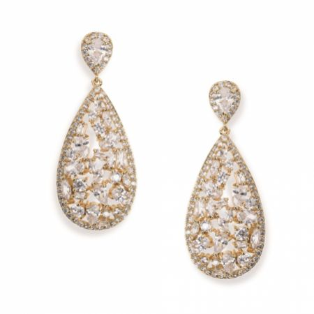 Ivory and Co Pasadena Crystal Teardrop Earrings (Gold)