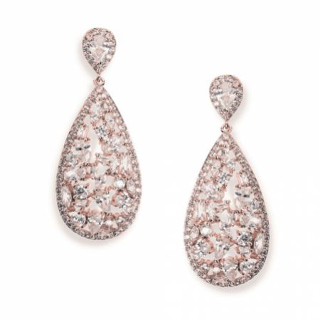 Ivory and Co Pasadena Crystal Teardrop Earrings (Rose Gold)
