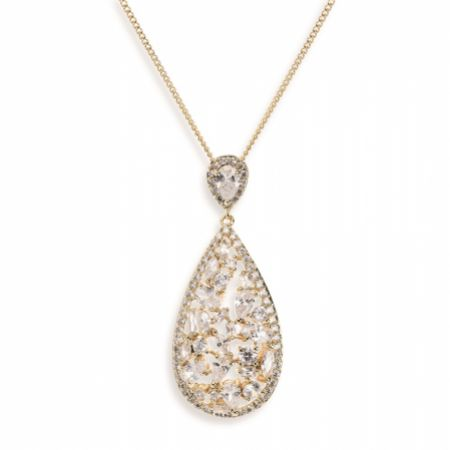 Ivory and Co Pasadena Crystal Teardrop Pendant Necklace (Gold)