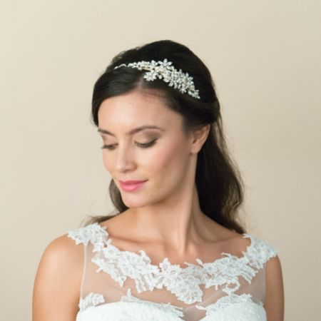 Ivory and Co Safiya Gold Crystal Blossom and Pearl Headband