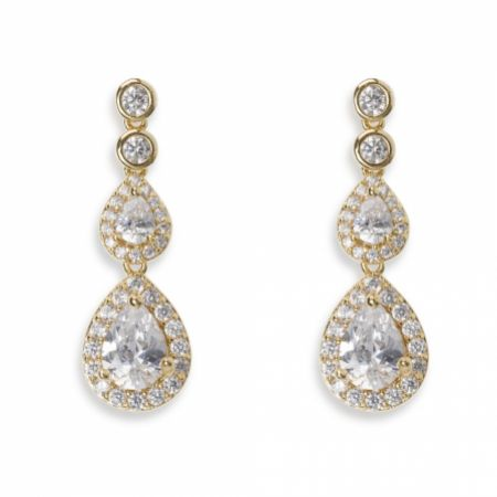 Ivory and Co Sorbonne Crystal Teardrop Wedding Earrings (Gold)