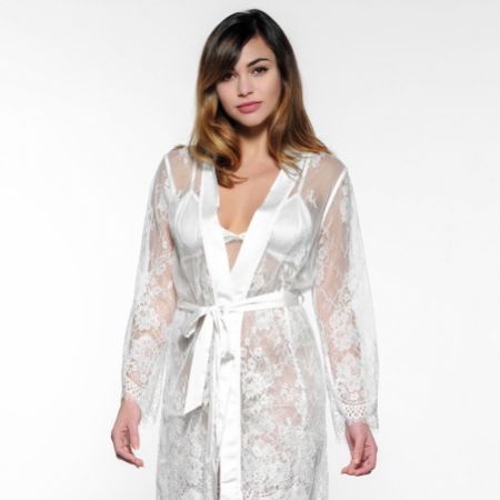 Ivory Lace Diamante 'Bride and 'Just Married' Bridal Robe