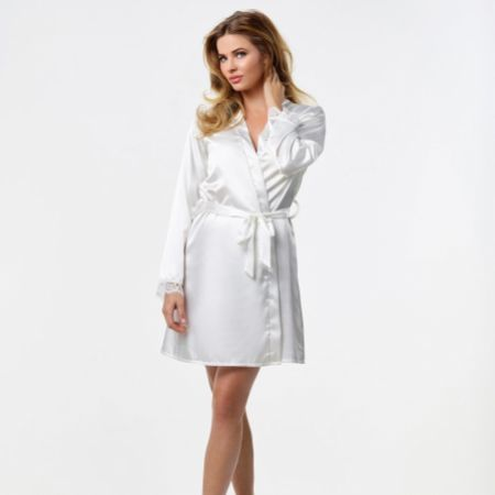 Ivory Satin Diamante 'Bride' and 'Just Married' Bridal Robe
