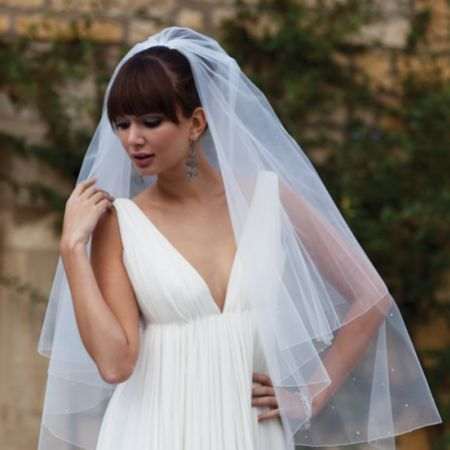 Joyce Jackson Antigua Diamante Wedding Veil with Pencil Edge